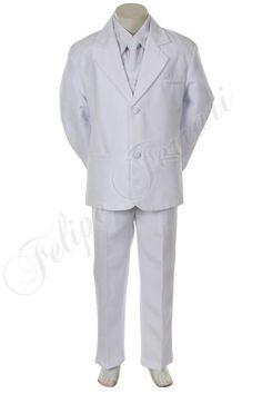 BY013 White Children Boy Junior Formal wear Communion Wedding Party Polyester 5pc Suit Tuxedo 8 10 12 14 $22.00~$24.00