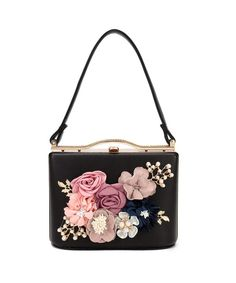 Women s Satin Flower Evening Clutch Bags Pearl Beaded Evening Handbag For  Prom Bride Wedding - Black8803 - CU18EWZ564C 8f7a617e1bbd