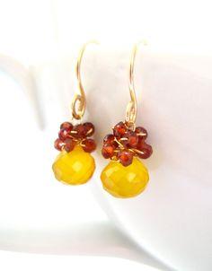 Yellow Chalcedony Teardrop Earrings, Crimson Red Garnet Gemstones, 14k Gold, Wire Wrapped, Handmade Jewelry, Lemon Berries on Etsy, $44.75