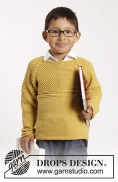 """Knitted DROPS jumper with raglan and textured pattern in """"Cotton Merino"""". Size 1-10 years ~ DROPS Design"""