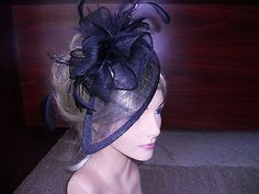 Black fascinator kentucky derby hat wedding hat church hat