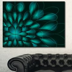 Designart 'Green Fractal Flower on Black'Extra Abstract Canvas Art Print