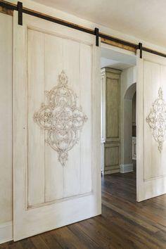 Sliding Door Design, Sliding Doors, Big Doors, Barn Door Sliders, Barn Door Designs, Provence Style, Interior Barn Doors, Home Remodeling, New Homes