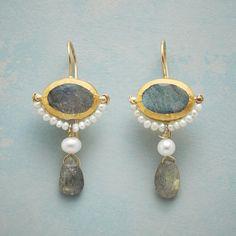 Balanced Beauty Earrings: 'Balanced Beauty' executed artfully in labradorite, gold and cultured, freshwater pearl earrings by Nava Zahavi. Modern Jewelry, Jewelry Art, Jewelry Accessories, Fashion Jewelry, Jewelry Design, Jewelry Crafts, Unique Jewelry, Jewellery, 925 Silver Earrings
