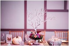 Downtown Denver Halloween Wedding white tree centerpiece | Cara and Alex | Shot with Hillary Kaye Photography