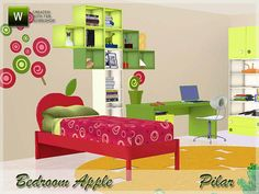 Apple Bedroom by Pilar  http://www.thesimsresource.com/downloads/1186104