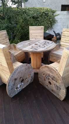 Spool chairs and table from reclaimed materials