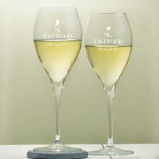 Personalised Wine Glasses. A pair of elegant wine glasses that make the perfect Wedding Gift, with the cute Heart and Top Hat design.  A gift for the Bride & Groom to use on their Big Day too! - http://www.omgmygift.co.uk/wedding-royale-wine-glasses-49231-p.asp