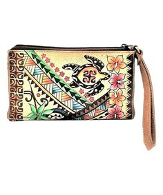 Look what I found on #zulily! Sarong Turtle Tan Hand-Painted Leather Wristlet #zulilyfinds