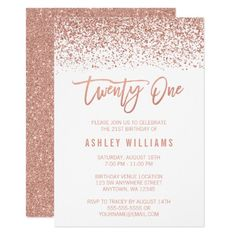 451 best 21st birthday party invitations images on pinterest modern rose gold faux glitter 21st birthday card stopboris Images