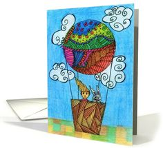 Fly high in the sky Bunny & Friend Hot Air... | Greeting Card Universe by Efi Maryeli