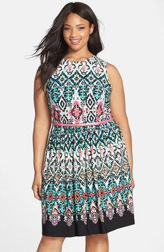 Eliza J Belted Print Sleeveless Fit & Flare Dress (Plus Size) | Nordstrom