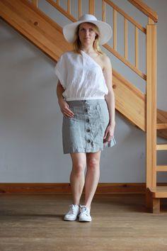 LINEN WOMEN SKIRT. Simple linen skirt. Button front linen skirt. by Maliposhaclothes on Etsy
