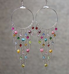 Hoop Earrings long chandelier loop tear drop by AniDesignsllc. What fun party earrings!