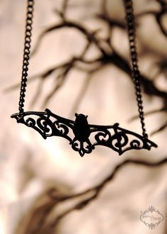 Filigree Victorian Bat necklace in black stainless steel - silhouette vampire halloween bat wings necklace