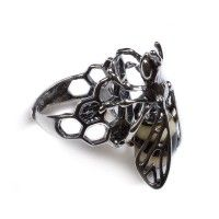 Amber & Silver Large Bee & Honeycomb Adjustable Ring