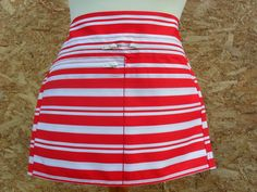 Red and white horizontal stripe Market Trader Money pocket / Vendor money apron. Service apron. Waitress apron. Cafe apron. by LDCcreations on Etsy
