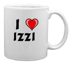 Keramische Tasse mit Aufschrift Ich liebe Izzi (Vorname/Zuname/Spitzname) - http://geschirrkaufen.online/shopzeus/keramische-tasse-mit-aufschrift-ich-liebe-izzi