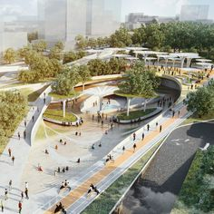 """LAVA and Aspect Studios to add Central Park to Ho Chi Minh City Elevated walkways and sunken gardens with sculptural energy-harvesting """"trees"""" will define LAVA and Aspect Studios' Central Park masterplan in Ho Chi . Plan Concept Architecture, Landscape Architecture Design, Green Architecture, Futuristic Architecture, Design Plaza, Mall Design, Futuristic City, Parking Design, Urban Landscape"""