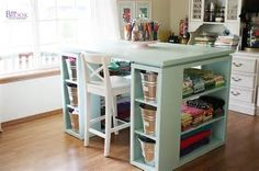 craft table with bookshelf ends