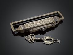View this item and discover similar for sale at - This large and incredibly ornate inlaid gilt bronze lock and key was made for and almost certainly used to lock the entrance to a harem in a wealthy Ottoman Door Knobs And Knockers, Antique Keys, Antique Hardware, Old Keys, Key Lock, Key To My Heart, Ottoman Empire, Vintage Antiques, Door Handles