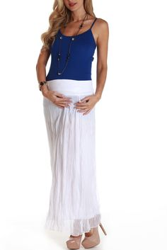 White Crinkled Chiffon Maternity Maxi Skirt