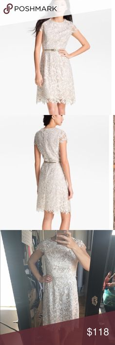 Eliza j floral lace design dress Perfect for any bridal shower, engagement party, wedding or other formal event. Golden tone cream lace dress Eliza J Dresses