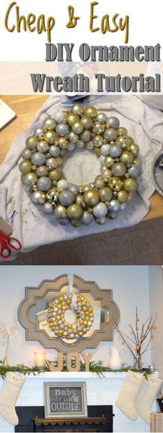 DIY Christmas Ornament Ball Wreath Tutorial - Cheap and Easy!