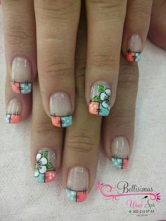 #unasdecoradas Simple Nail Art Designs, Toe Nail Designs, Quilted Nails, Food Nail Art, Nail Picking, Cruise Nails, Fingernails Painted, Gel Nagel Design, French Tip Nails