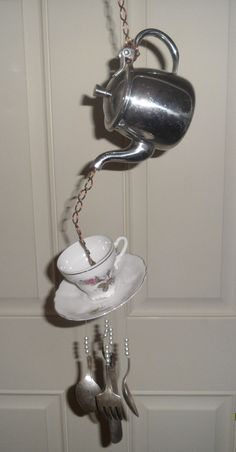 teapot chimes | STAINLESS TEAPOT WINDCHIME, Original, one of a kind, upcycled, work of ...