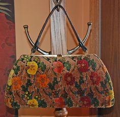 70s Kadin handbag velvet chenille tapestry a vintage by YustaWas, $42.00