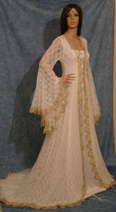 Renaissance medieval victorian fantasy vintage handfasting wedding dress custom made. $498.00, via Etsy.