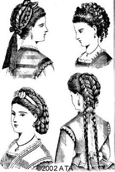 Interesting hairstyle - Hairstyles Hair Ideas, Cut And Colour Inspiration Civil War Hairstyles, Historical Hairstyles, Hairstyles 2018, Victorian Hairstyles, Vintage Hairstyles, Victorian Women, Victorian Fashion, Fashion Sketch Template, 1800s Fashion