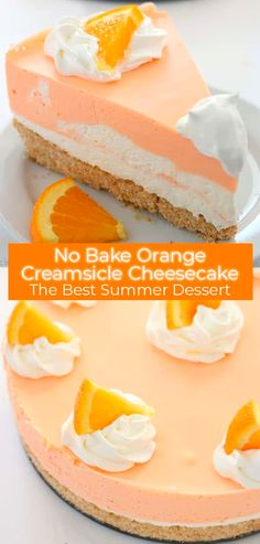 If you are a fan of Creamsicles, you are going to want to make this No Bake Orange Creamsicle Cheesecake this summer. You will find a delicious Nilla Cookie crust with layers of orange creamy cheesecake filling. Perfect for summer picnics and BBQ& Brownie Desserts, Oreo Dessert, Bbq Desserts, Cheesecake Desserts, Dessert Food, Pumpkin Cheesecake, Health Desserts, Orange Creamsicle, Creamsicle Cake