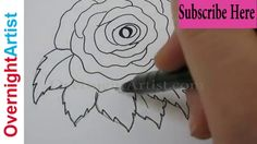 Easy step by step drawings Learn to draw with black marker , Draw easy flowers, hearts, bubble and fancy letters. Easy paintings for beginners - How to paint. 3d Drawing Techniques, Drawing Skills, Drawing Tutorials, Rose Step By Step, Step By Step Drawing, Easy Paintings For Beginners, Pitt Artist Pens, Monster Drawing, Fancy Letters