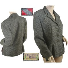 1950's Women's Tweed Business Suit Jacket Offered by Breezy Bluewillow on Ruby Lane