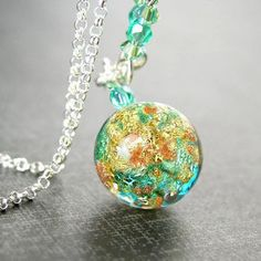 Sea Green Venetian Glass Necklace Sterling Silver Aqua Blue Green Necklace Authentic 24k Gold Foil Murano Glass Pendant Necklace Colorful