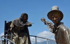 Detalle del monumento a la Santanderianidad en el Parque Nacional del Chicamocha, situado en el Cañon del Chicamocha, una maravilla natural del Departamento de Santander, COLOMBIA Natural Wonders, National Parks, Statues, Monuments, Earth, Sweetie Belle