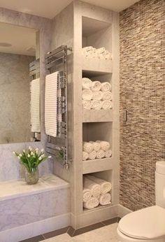Dream Spa-Style Bathroom 33 storage shelves heated towel rods?