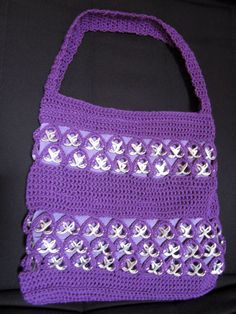 Bolso de crochet en algodón con anillas de lata