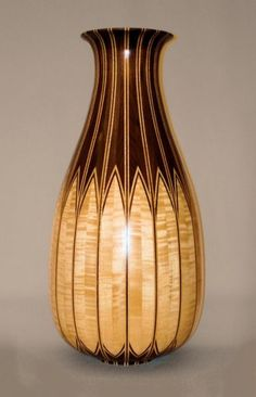 "Walnut, Maple stave vase [There's a lot of work in the lay-up of this ""lovely""] Wood Turning Lathe, Wood Turning Projects, Wood Projects, Lathe Projects, Wood Vase, Wood Bowls, Got Wood, Wooden Shapes, Wood Creations"