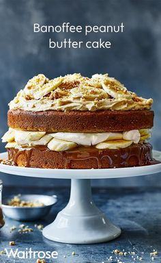 Light and fluffy sponge layered between fresh banana and peanut buttercream with a drizzle of gooey toffee sauce - this bake is too good not to try! Just Desserts, Delicious Desserts, Yummy Food, Baking Recipes, Cake Recipes, Dessert Recipes, Banoffee Cake, Waitrose Food, Biscuits