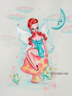 Redhead Pin Up Fairy Sitting on a Mushroom - Original Painting by Miss Fluff/ Claudette Barjoud
