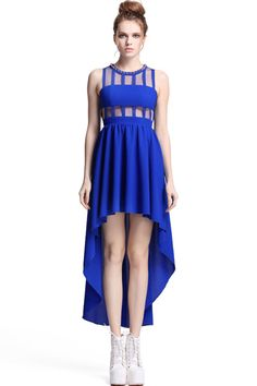 ROMWE | Asymmetric Riveted Royal Blue Dress, The Latest Street Fashion