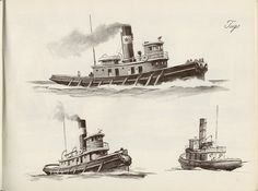 """"""" Tugs """" ….. Artist: W. J. Aylward … From: 'SHIPS and How to Draw Them', Published 1950  [Sailor Gil Collection]"""