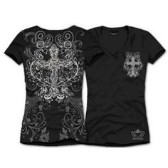 Amazon.com: Katydid Womens Rhinestone & Vine Cross Shirt: Clothing