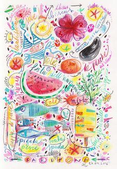 Summertime, Sardinia,  illustration by Ania Simeone
