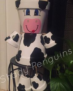 Cow Flower Pot People/ flower pot/ indoor decor/ outdoor | Etsy Flower Pot Art, Flower Pot Crafts, Clay Pot Crafts, Painted Clay Pots, Painted Flower Pots, Painted Pumpkins, Hand Painted, Flower Pot People, Clay Pot People