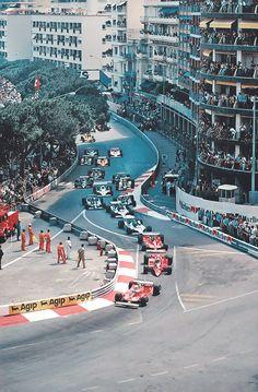 Classic - Monaco Grand Prix start - mid '70s, Jody Scheckter and Gilles Villeneuve in Ferrari's, surround Niki Lauda in an Alfa-Romeo.
