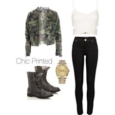 Slick Jeans, with a feminine top and a classic Rolex watch, all pulled together in a casual look with an army jacket and combat boots.